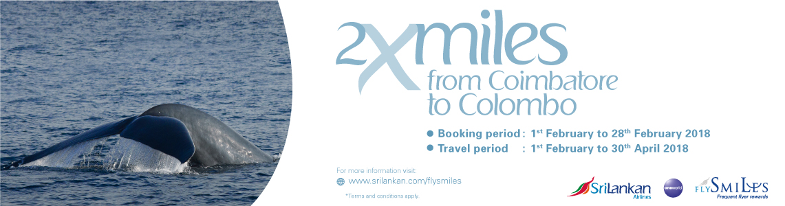 FLYSMILES DOUBLE MILES PROMOTION FROM COIMBATORE, INDIA