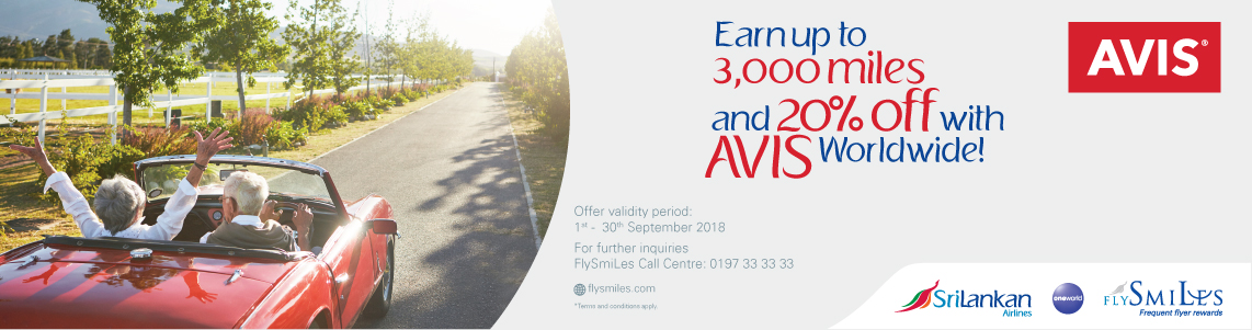 Get up to 3,000 FlySmiLes miles and 20% off with AVIS worldwide