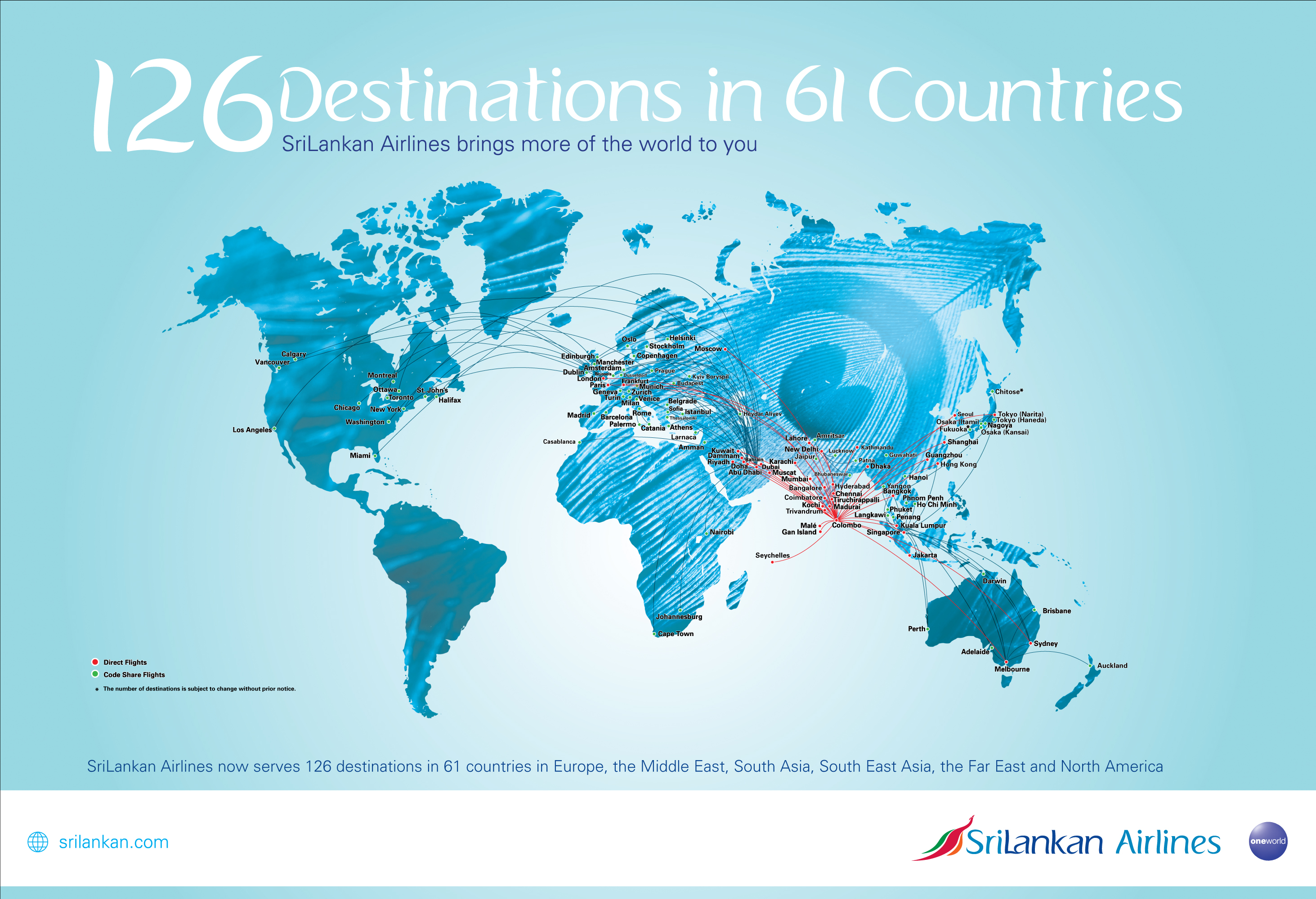 The Flight Route Map Of Srilankan Airlines