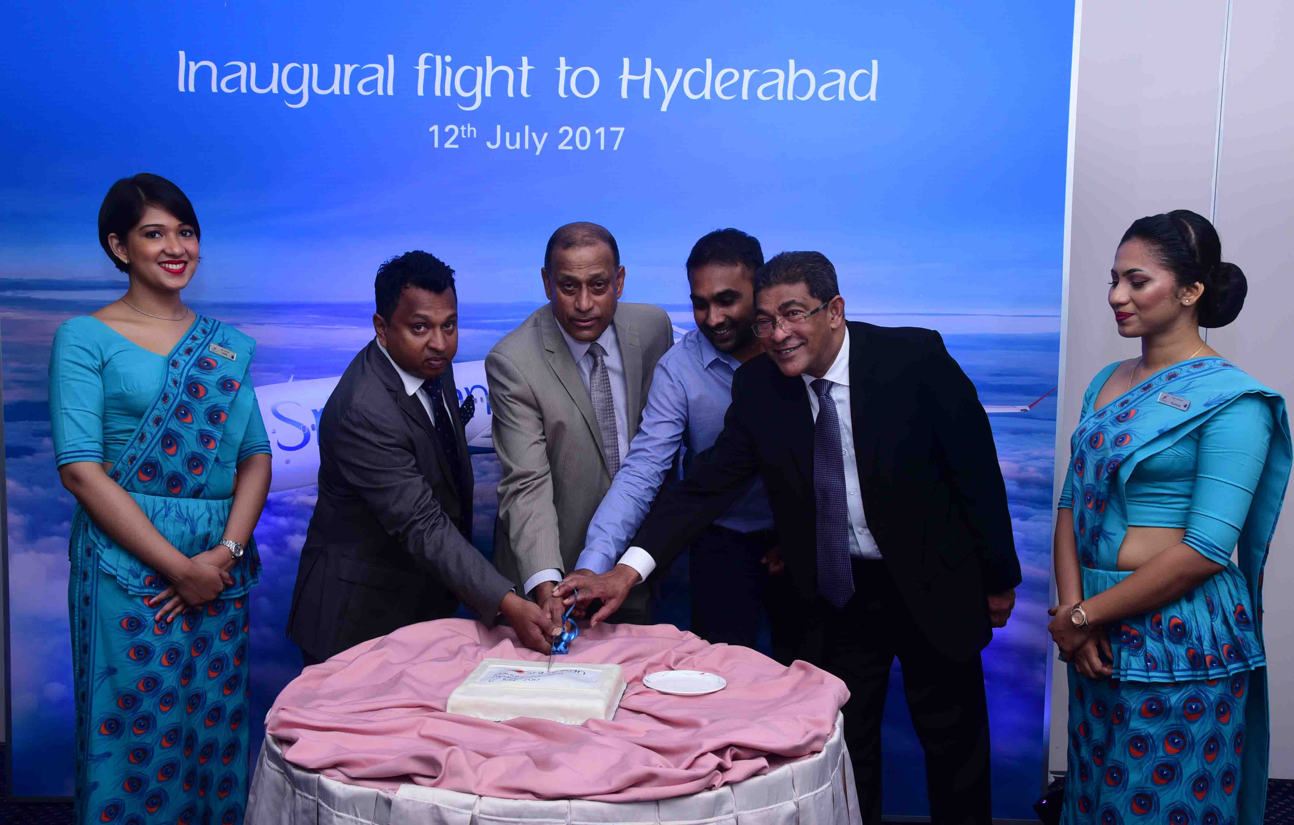 SriLankan Airlines, Director Mr. Harendra K. Balapatabendi together with Chief Commercial Officer Mr. Siva Ramachandran, Brand ambassador of SriLankan and former Sri Lanka Cricket CaptainMr. Mahela Jayewardene and SriLankan Airlines, Consultant Mr. Lal Perera cutting a cake minutes before the inaugural flight to Hyderabad yesterday