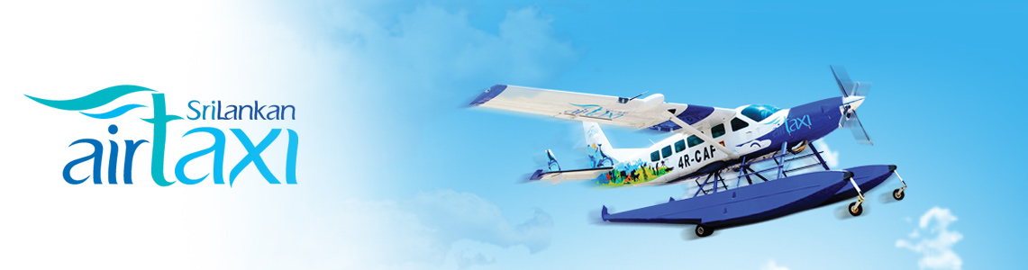 An air taxi in flight on the left alongside a map of Sri Lanka showcasing the flight routes with SriLankan Air Taxi logo & Cinnamon Air logo on the right