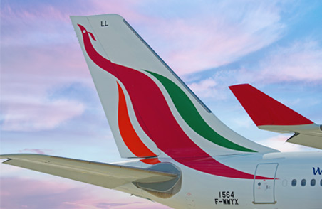 The vertical tail wing of a SriLankan Airlines flight with SriLankan Airlines logo